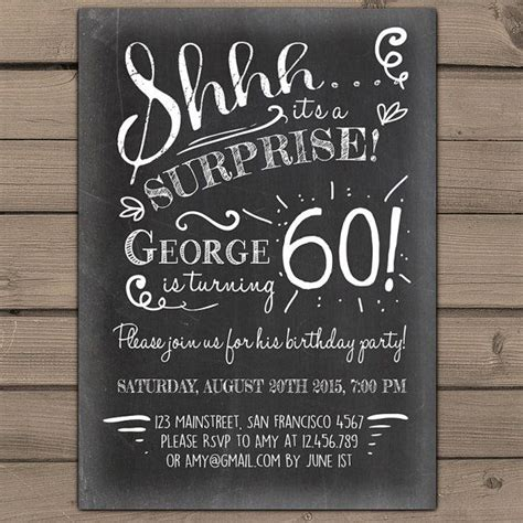 surprise 60th birthday invitation chalkboard invitation