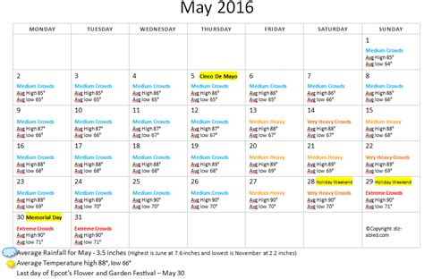 Calendar Weather May 2016 Disney World Crowds Weather Calendar Walt