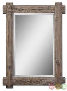 Vanity Mirror Rustic Claudio Rustic Light Walnut Stained Wood Vanity Mirror 07635