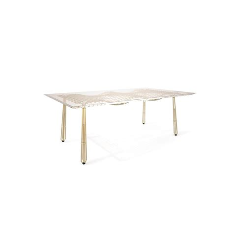 Stainless Steel Outdoor Dining Table Nordic Outdoor Gold Plated Stainless Steel Mesh Dining Table With Acrylic Top