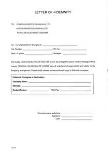 indemnity letter template forms ensign freight one company total service and