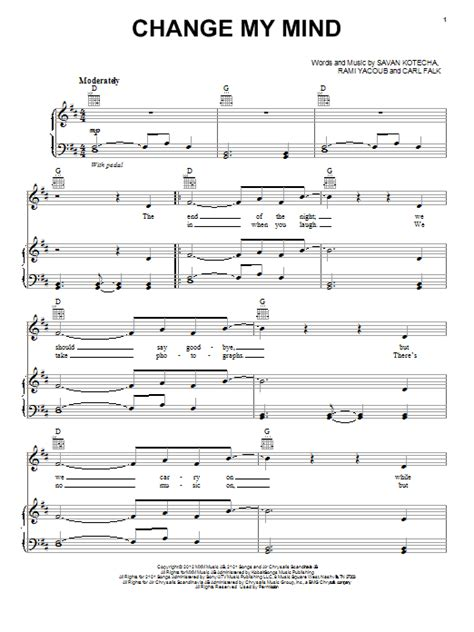 night changes guitar tutorial change my mind sheet music by one direction piano vocal