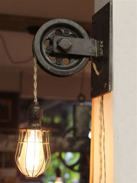 bathroom light pulley possible diy project wall mount pulley light with