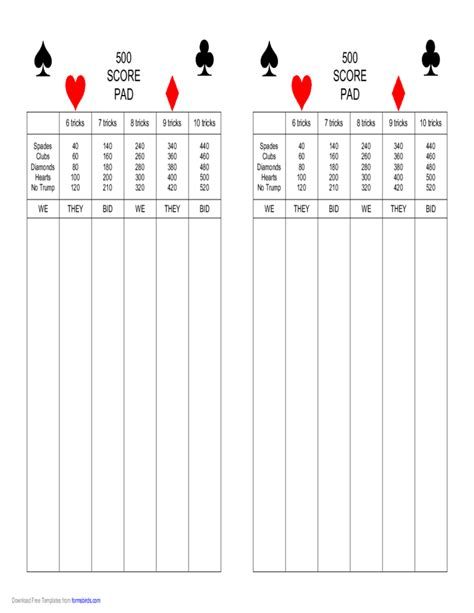 500 card score sheet template 500 score pad free
