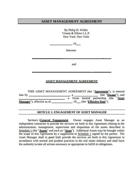 contract management templates management agreement templates 11 free word pdf format