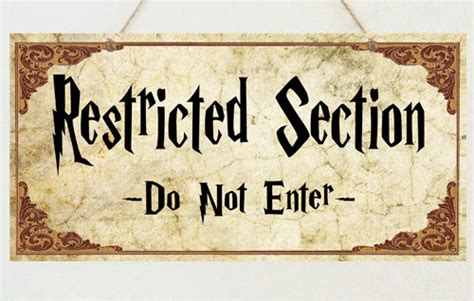 harry potter restricted section harry potter sign restricted section do not enter plaque gift