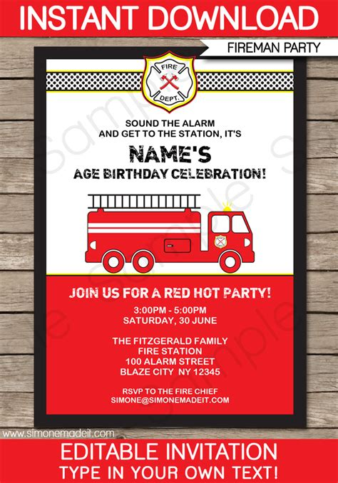 fire truck party invitations template fireman birthday