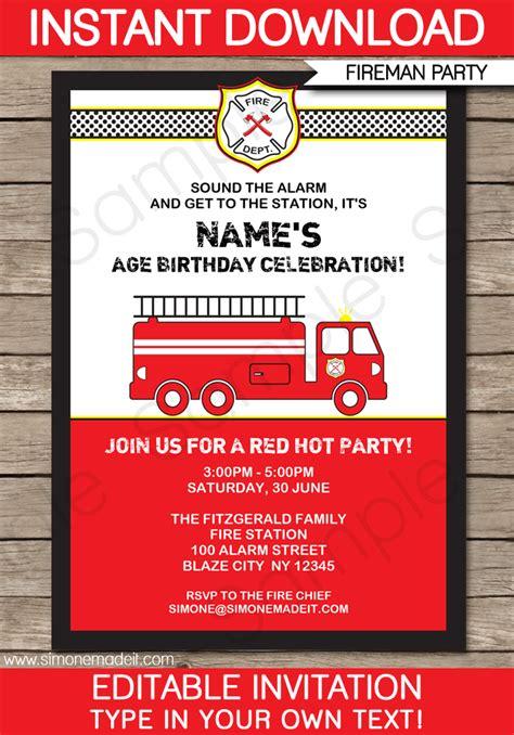truck invitation template truck invitations template fireman birthday