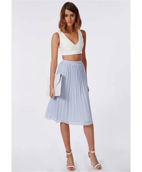 Chiffon Pleated Midi Skirt missguided karieen pleated chiffon midi skirt powder blue