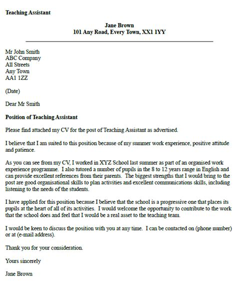 cover letter for a teaching assistant teaching assistant cover letter exle icover org uk