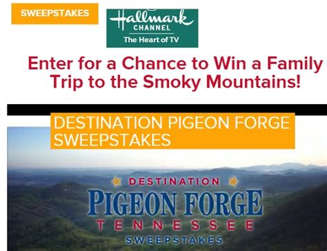 Hallmark Channel Sweepstakes 2015 - hallmark channel destination pigeon forge sweepstakes sweeps maniac