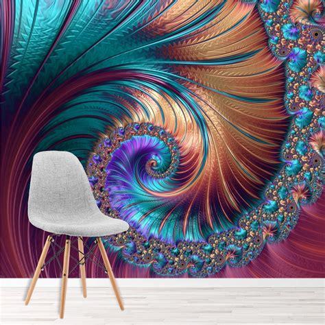 pink swirl wall mural blue spiral  photo wallpaper