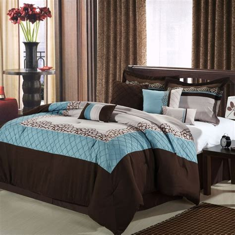 blue brown comforter mustang brown blue beige 8 piece queen comforter bed in