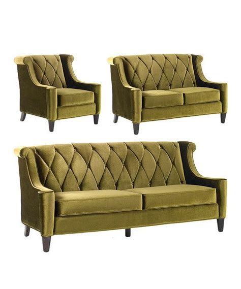 green velvet barrister three sofa set