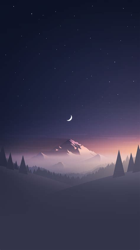 iphone wallpaper hd stars and moon winter mountain landscape iphone 6 hd