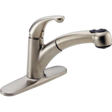 delta stainless steel kitchen faucets delta palo single handle pull out sprayer kitchen faucet