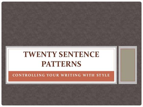 sentence pattern grammar twenty sentence patterns a brief description of patterns