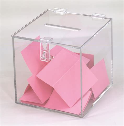 Acrylic Box plastic ballot box clear hinged lock top slot