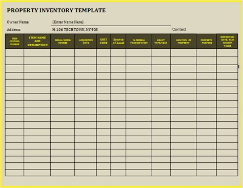 12 Property Inventory Templates Free Word Templates Inventory Template For Furnished Rental Property