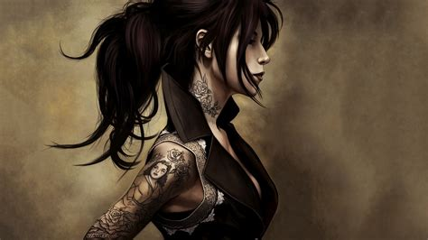 anime girl tattoo hd wallpaper download tattoo art wallpaper hd gallery