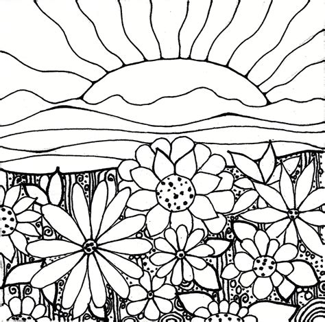 coloring pages field of flowers printableadult coloring page digital by