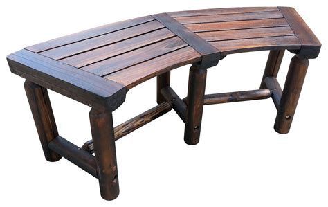 char log curved bench rustic outdoor benches