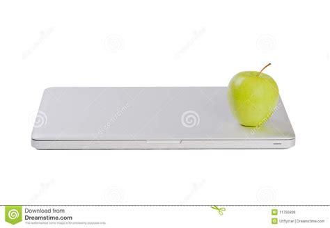 Laptop Apple Slim Modern Slim Laptop With Green Apple Royalty Free Stock Image Image 11755936