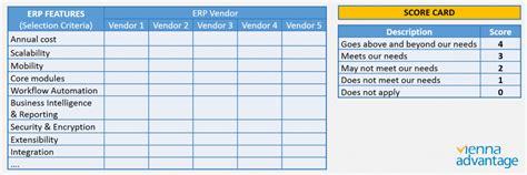 erp evaluation template vendor selection criteria template ideas exle