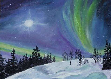 northern lights painting by schizkoske