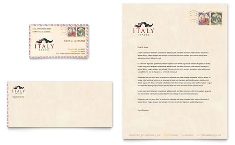 Business Card Letterhead Template Italy Travel Business Card Letterhead Template Word Publisher