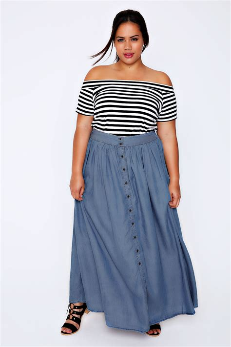 Idw079 Blue Size 16 5 denim blue chambray maxi skirt plus size 16 to 32