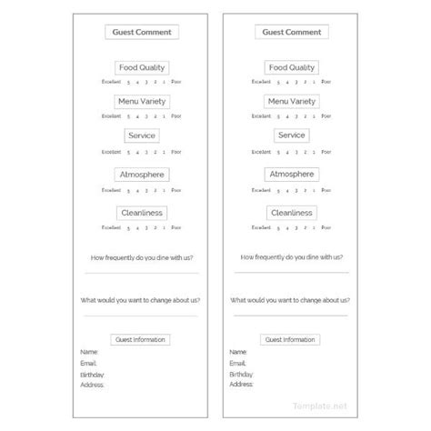 Free Hotel Comment Card Template by Customer Comment Card 12 Free Psd Eps Vector Free