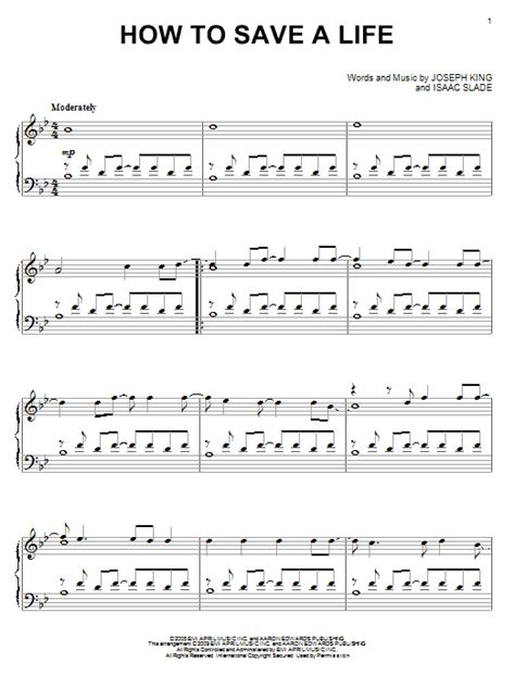 tutorial piano how to save a life how to save a life sheet music by the fray piano 72490