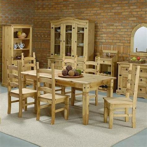 Knotty Pine Dining Room Set by Mexican Pine Furniture Corona Pine Dining Set Chairs Interior Design Ux Ui