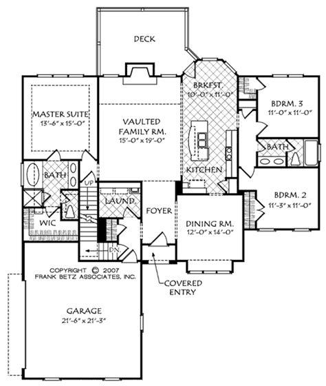 House Plan Details by Manchester Walk B House Floor Plan Frank Betz Associates