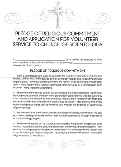Commitment Letter For Volunteers Sunday Funnies There S A New Contract For Scientology
