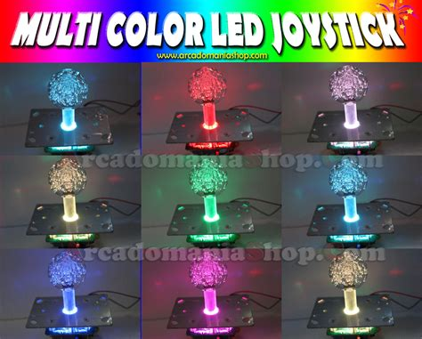 multi color led joystick 40mm arcadomania shop