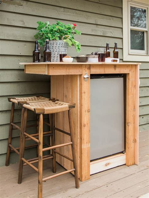 bar cabinet with mini fridge how to build an outdoor minibar hgtv