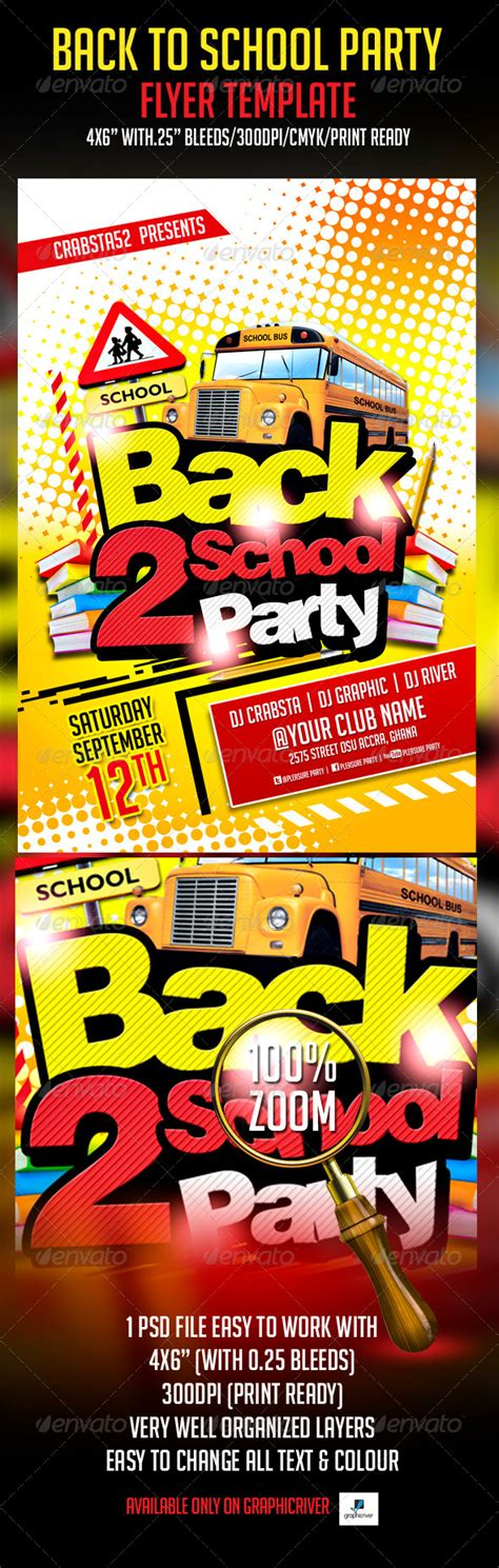 Back To School Party Flyer Template By Crabsta52 Graphicriver Back To School Bash Flyer Template Free