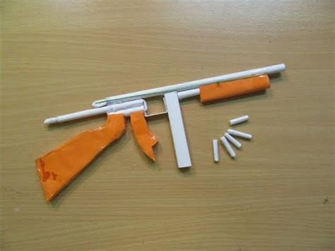 paper craft gun how to make a paper thompson m1a1 machine gun that shoots