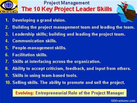 project leadership the 10 key project leader skills and the emerging entrepreneurial of