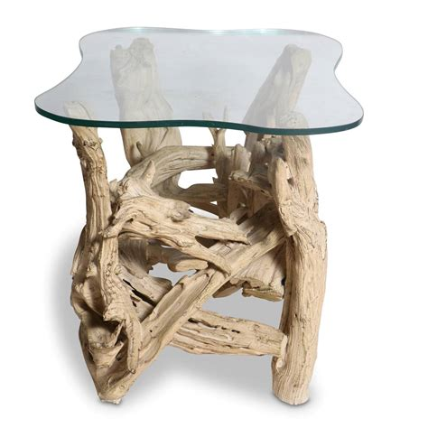 Driftwood Side Table Mid Century Gesso Washed Driftwood End Table Circa 1950s At 1stdibs