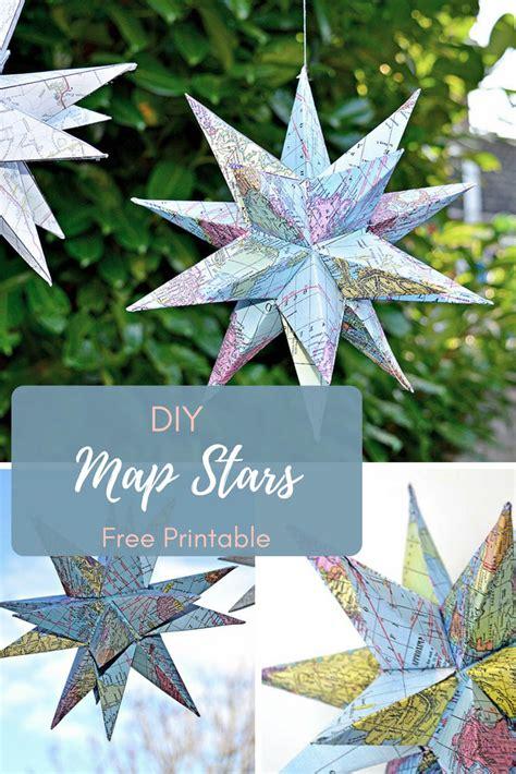 printable christmas star decoration how to make gorgeous free printable map star decorations