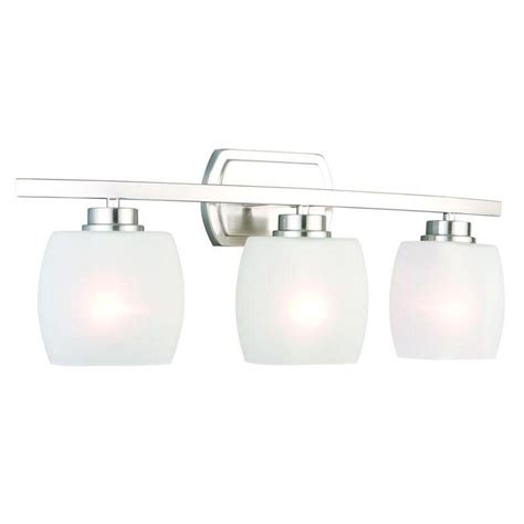 Hton Bay 2 Light Brushed Nickel Bath Light 05380 The Home Depot Hton Bay Tamworth 3 Light Brushed Nickel Vanity Light With Frosted Glass Shades Iex1393a 2