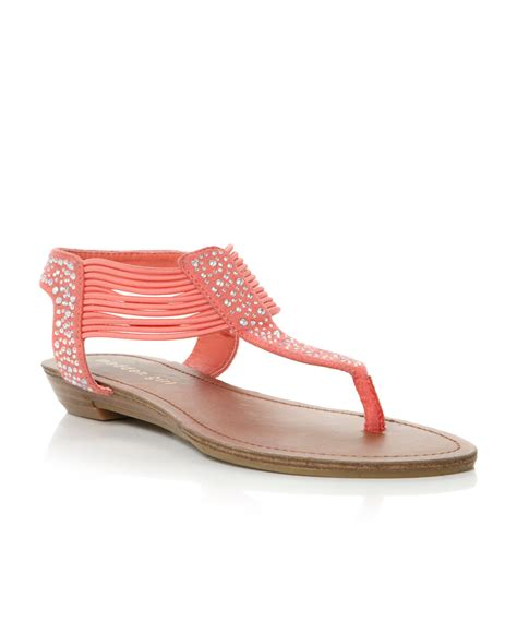 coral sandals madden tanduum diamante flat sandals in pink