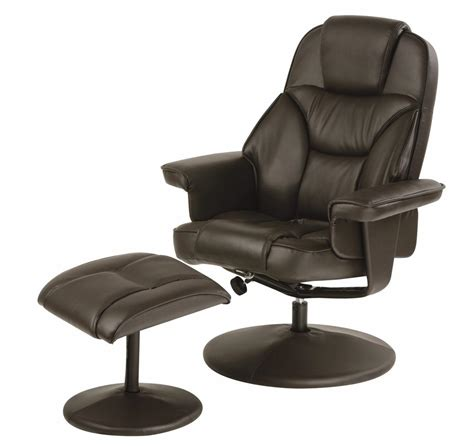 Swivel Recliner Chairs Swivel Recliner Chair With Footstool Black Brown Faux Leather Ebay
