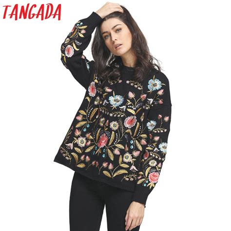 Batwing Femme מוצר tangada embroidery sweaters and pullovers jumper knit winter oversized fashion