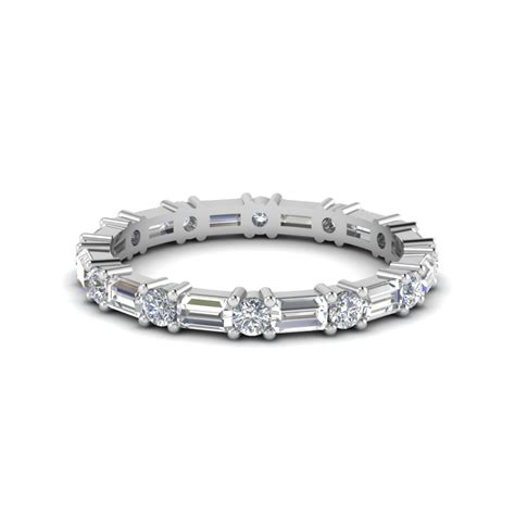 Baguette And Round Diamond Band In 950 Platinum