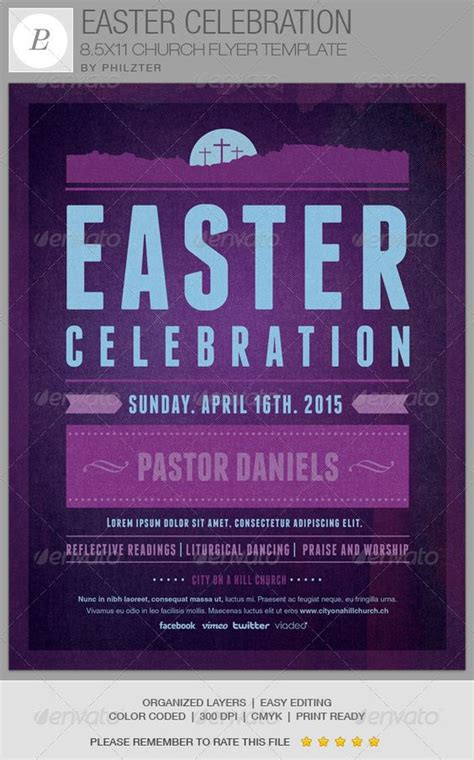 church event flyer templates celebration church easter celebration and flyer template