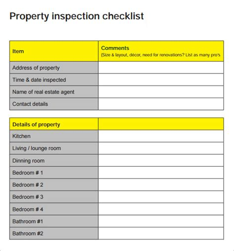 15 Sle Home Inspection Checklist Templates Sle Templates Property Inspection Checklist Template